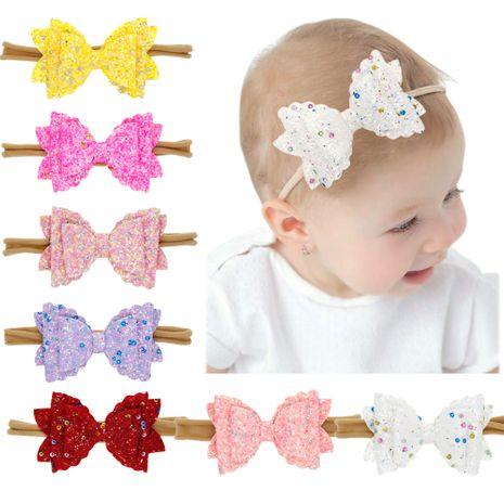 Children's three-layer bow headband baby elastic headband sequins bowknot nylon head rope colored hair band NHWO236261's discount tags