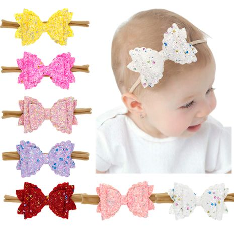 Children's three-layer bow headband baby elastic headband sequins bowknot nylon head rope colored hair band NHWO236261's discount tags