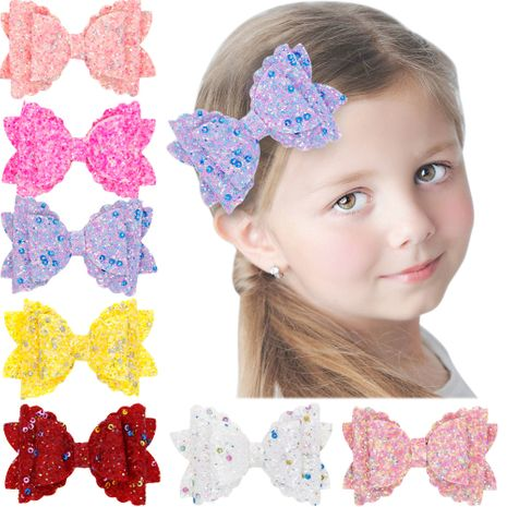 Girls three-tier bow-knot hairpin children's sequined bow-knot edging clip colored hair clips wholesale NHWO236263's discount tags