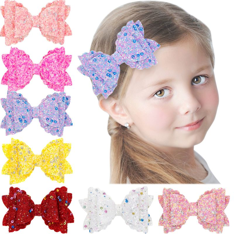 Girls three-tier bow-knot hairpin children's sequined bow-knot edging clip colored hair clips wholesale NHWO236263