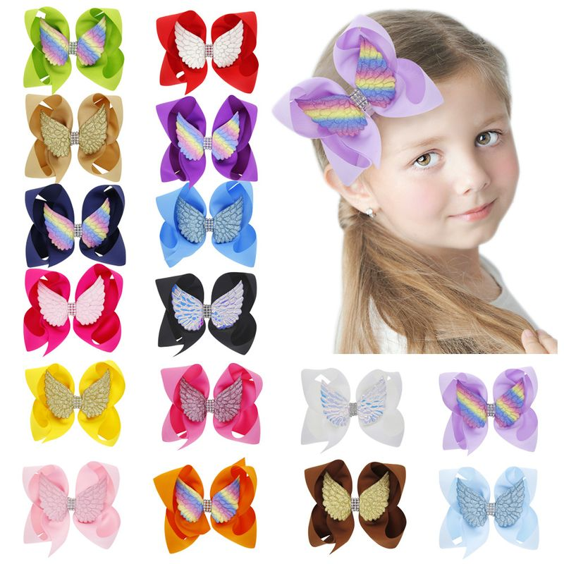 children angel wings bow hairpin girl solid color 6 inch bow clip 16 colors hair clips wholesale NHWO236265