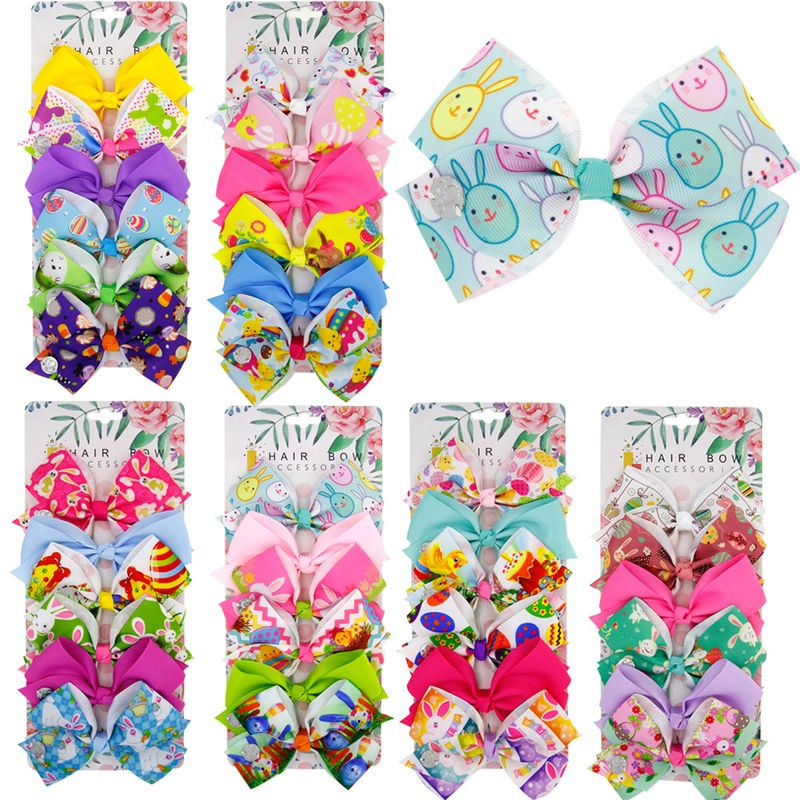 girl hair clip children's Easter bow set rabbit unilateral clip 6 color hair band set NHWO236267