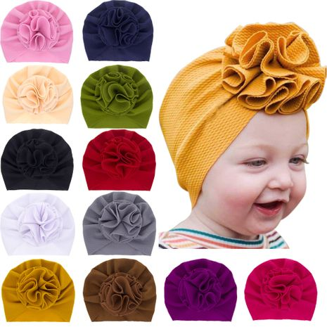 Fashion children's hats baby pure color pullover caps handmade big flower tire caps 12 colors wholesale nihaojewelry NHWO236272's discount tags