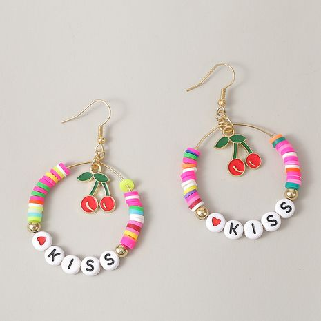 Letras de moda KISS aretes de cuentas de arroz de cereza pendientes de mujeres pendientes hechos a mano creativos nihaijewelry NHLA236275's discount tags