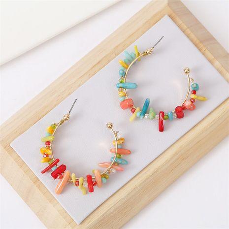 Moda salvaje en forma de C geométrica pendientes de cuentas de coral mujeres pendientes de cuentas de arroz joyería nihaojewelry NHLA236276's discount tags