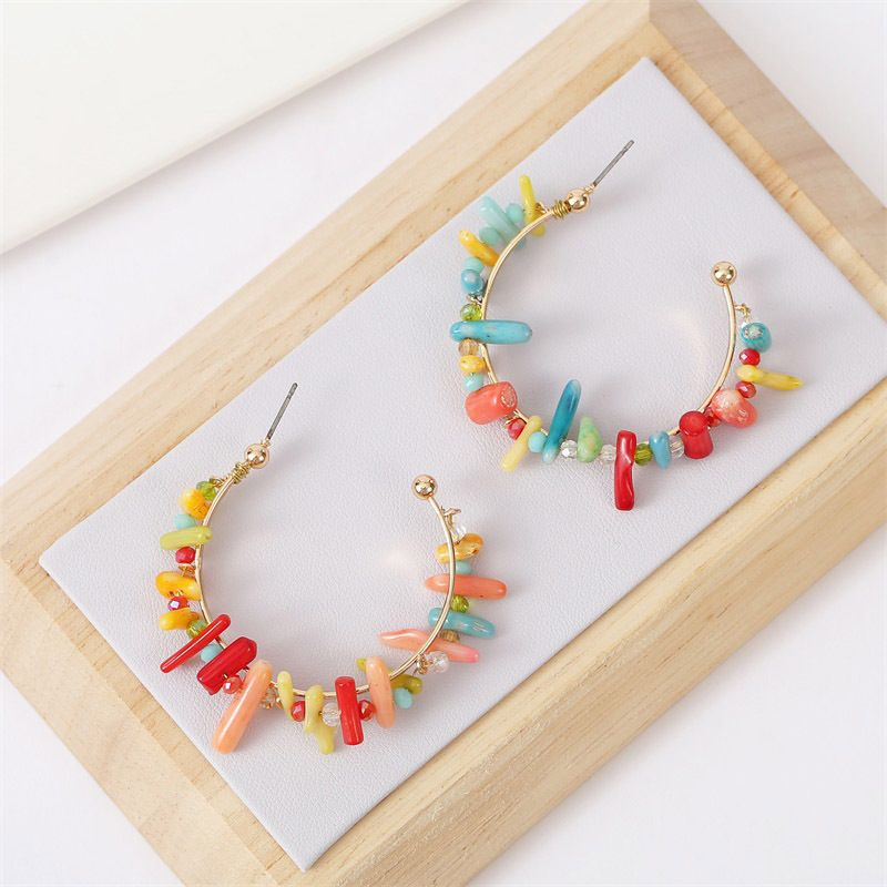 fashion wild C-shaped geometric coral beaded earrings women rice bead earrings jewelry nihaojewelry NHLA236276