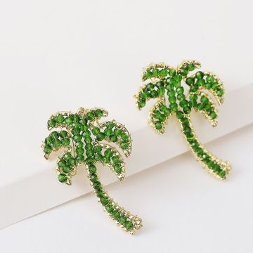 Fashion earrings handmade white crystal coconut earrings women Korean cute green simple earrings jewelry nihaojewelry  NHLA236277
