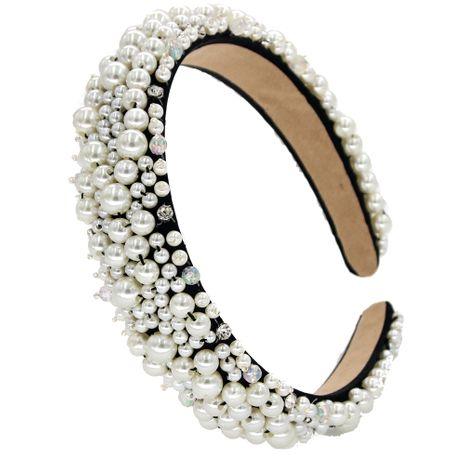 Creative pearl ladies headband handmade pearl diamond headband nihaojewelry NHCO236293's discount tags