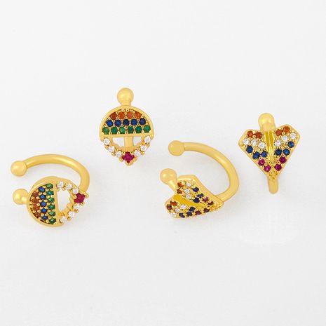 Ear clip without pierced original color zircon ear clip fashion jewelry geometric C-shaped ear bone clip wholesale nihaojewelry NHAS236305's discount tags