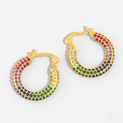 micro-inlaid color zircon earrings trendy stacking earrings wholesale nihaojewelry NHAS236307's discount tags