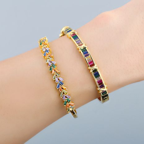 Color zircon bracelet women original fashion colorful geometric open bracelet boutique jewelry wholesale nihaojewelry NHAS236313's discount tags
