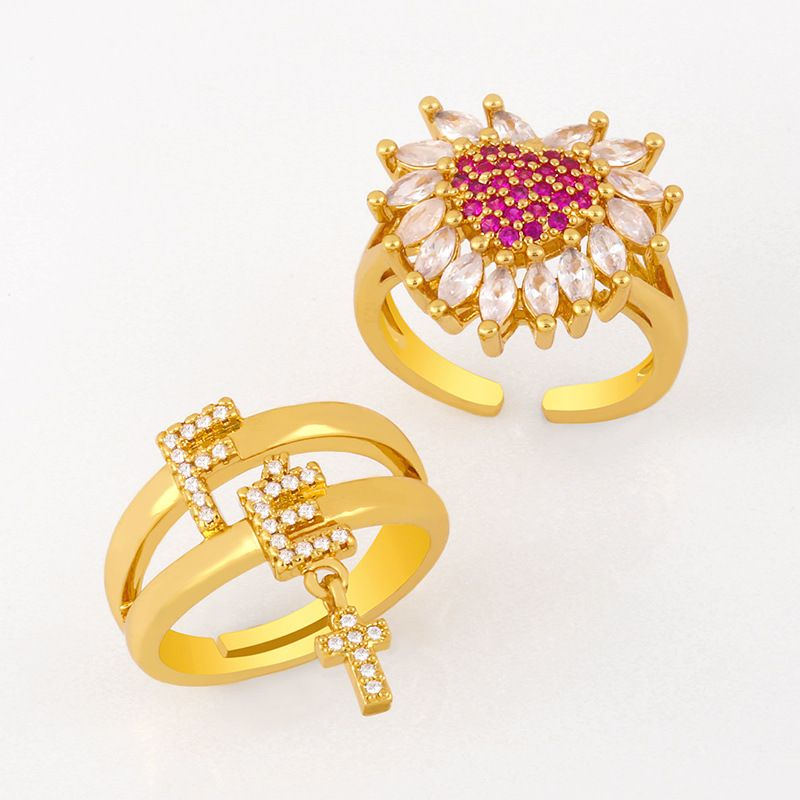 Fashion allmatch ring women copper ring micro diamond zircon love open ring wholesale nihaojewelry NHAS236314