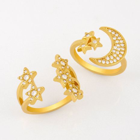 Fashion all-match simple copper ring women birthday star moon shape open ring wholesale nihaojewelry NHAS236316's discount tags