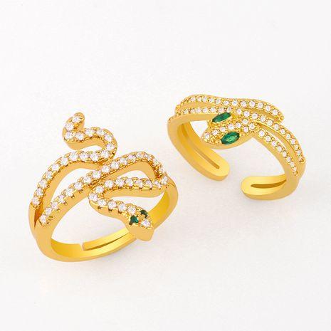 Bague en forme de serpent de mode bague en cuivre ouverture anneaux réglables verts nihaojewelry NHAS236317's discount tags