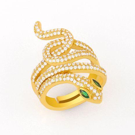 bague de serpent sauvage de mode bague ouverte en zircon micro-incrusté bague en cuivre originale nihaojewelry NHAS236318's discount tags
