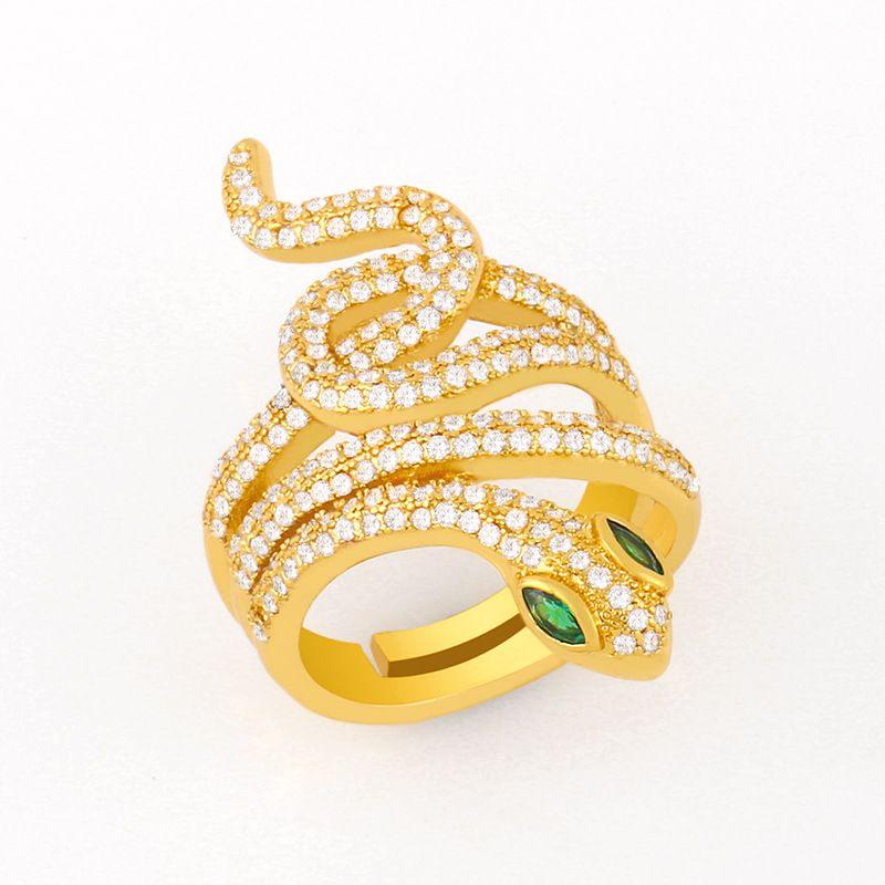 fashion wild snake ring micro-inlaid zircon open ring original copper ring nihaojewelry NHAS236318