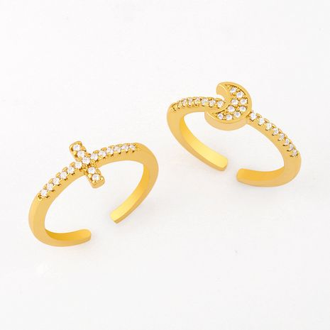 Fashion wild simple diamond zircon cross ring moon ring hot nihaojewelry NHAS236319's discount tags