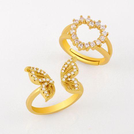 Bague papillon bague en cuivre mode bague ouverte sauvage diamant bague en forme de coeur bague en gros nihaojewelry NHAS236320's discount tags