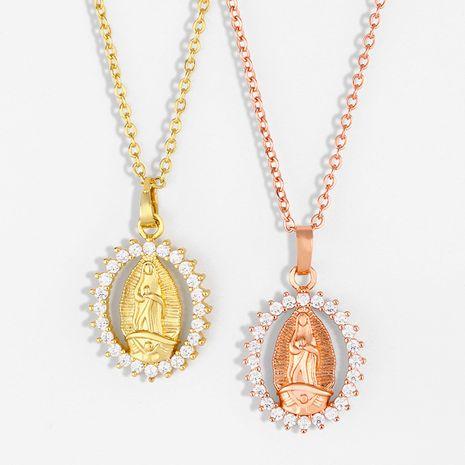 mode Vierge Marie ovale véritable collier plaqué or pièce chaîne de la clavicule en gros nihaojewelry NHAS236323's discount tags