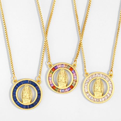 hot style hip-hop accessories gold-plated diamonds Catholic Virgin Mary pendant necklace wholesale nihaojewelry NHAS236325's discount tags