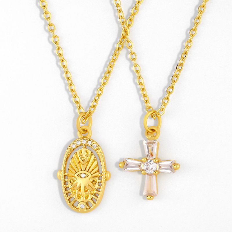 hot sale Jewelry Micro Inlaid Zircon Cross Pendant Necklace Demon Eye Necklace wholesale nihaojewelry NHAS236332