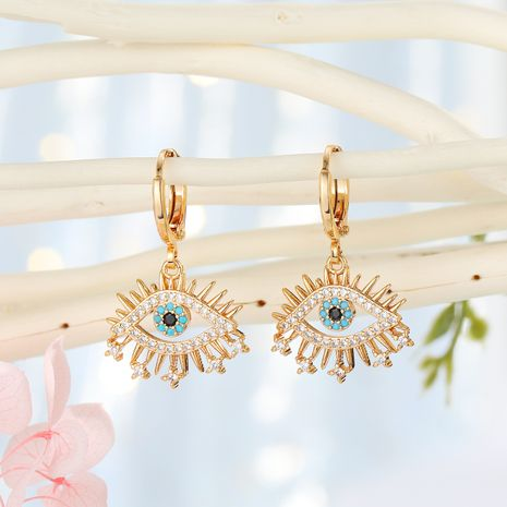 Fashion micro-inlaid earrings Turkish blue eyes zircon earrings exquisite diamond-set tassel earrings wholesale nihaojewelry NHGO236335's discount tags