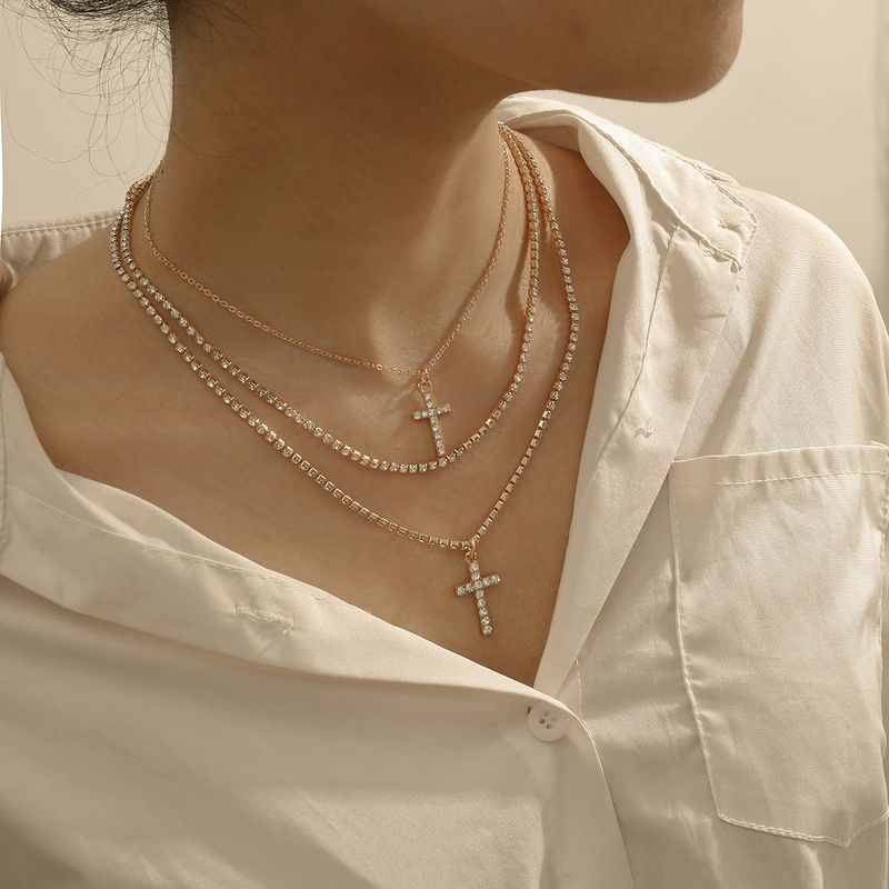 creative popular jewelry fashion simple glass rhinestone multilayer necklace wholesale nihaojewelry NHXR236353