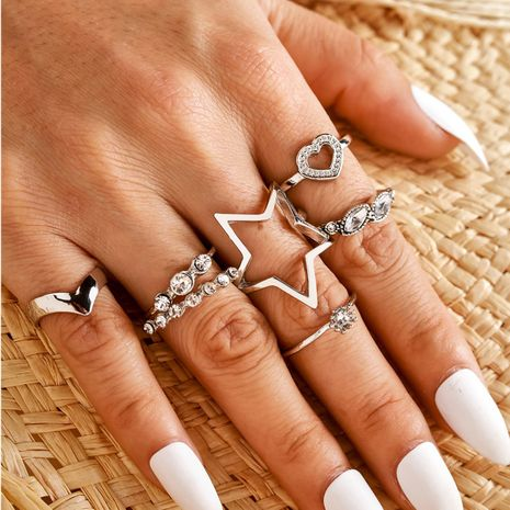 fashion alloy ring V-shaped adjustable heart-shaped five-pointed star love ring set wholesale nihaojewelry NHGY236372's discount tags