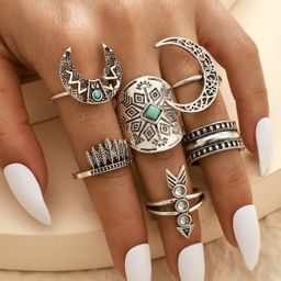 Retro fashion all-match alloy totem leaf moon arrow ring 6-piece set alloy hollow horn ring wholesale nihaojewelry NHGY236376