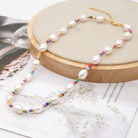fashion bohemian beach style natural pearl rainbow rice bead necklace jewelry wholesale nihaojewelry NHGW236380's discount tags