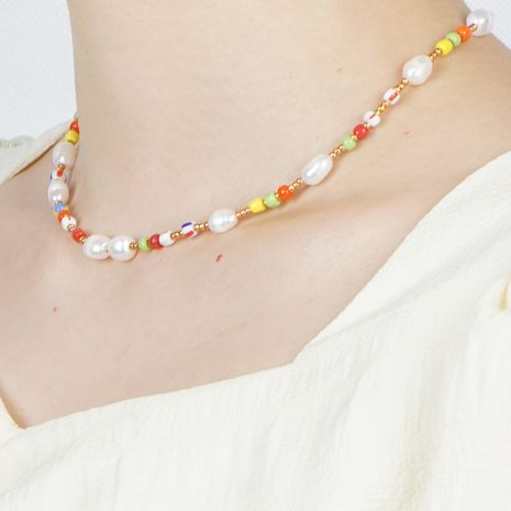 fashion Bohemian beach style natural freshwater pearl rainbow rice bead necklace wholesale nihaojewelry NHGW236383's discount tags