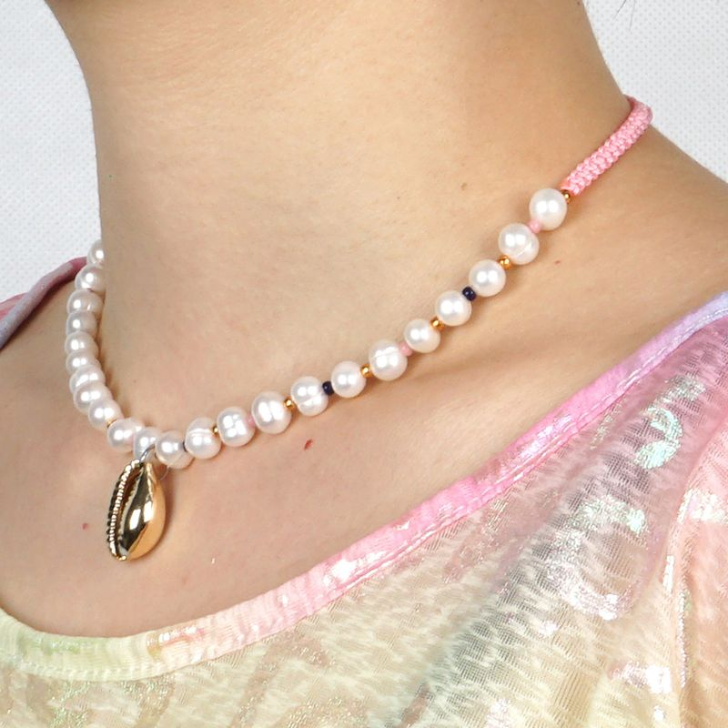 popular jewelry necklace fashion bohemian natural pearl shell necklace wholesale nihaojewelry NHGW236385