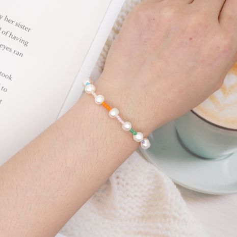 Korean style simple baroque natural beautiful pearl rice bead bracelet wholesale nihaojewelry NHGW236388's discount tags