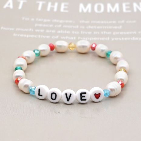 Korean Baroque style natural freshwater pearl letter bracelet special-shaped bracelet wholesale nihaojewelry NHGW236393's discount tags