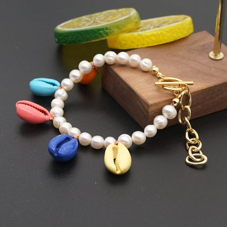 hot sale big gold chain fashion beach style baroque natural pearl color shell bracelet wholesale nihaojewelry NHGW236395's discount tags