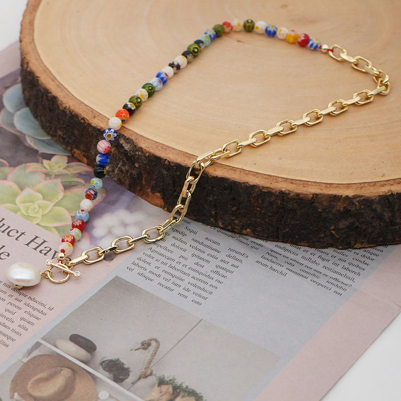 fashion ethnic style accessories large gold chain baroque natural freshwater pearl necklace jewelry wholesale nihaojewelry NHGW236403