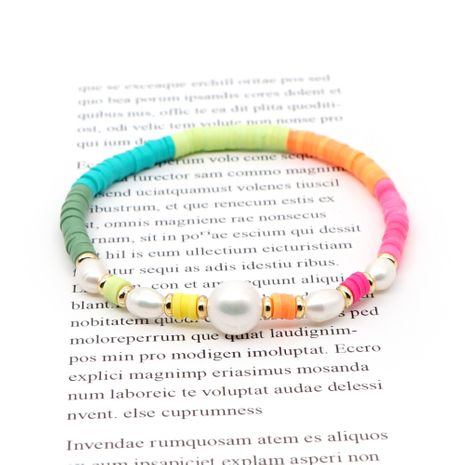 original bracelet simple natural pearl hand-woven love stripe colored soft clay elastic rope wholesale nihaojewelry NHGW236409's discount tags