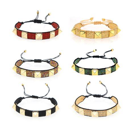 hot fashion punk style rivet couple bracelet Miyuki rice beads hand-woven jewelry wholesale nihaojewelry NHGW236411's discount tags