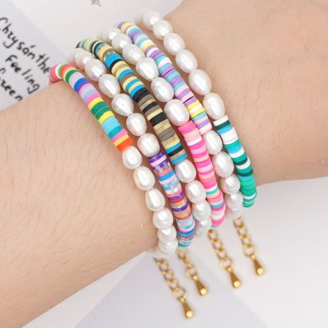 hot style retro tide with letter bracelet beach style natural pearl 4mm colored soft clay jewelry wholesale nihaojewelry NHGW236412's discount tags