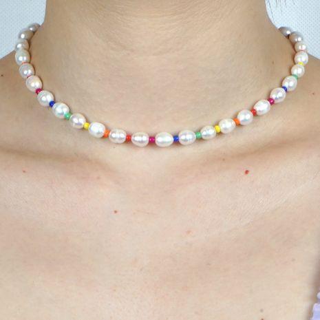 Collier de perles de riz arc-en-ciel de perles d'eau douce naturelles de style de plage bohème en gros nihaojewelry NHGW236417's discount tags