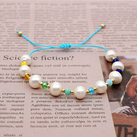 simple friendship rope color crystal natural freshwater baroque pearl gold bead bracelet wholesale nihaojewelry NHGW236426's discount tags