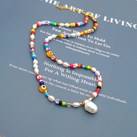 Simple colored glaze evil eye Pearls natural pearl necklace Bohemian beach style necklace wholesale nihaojewelry NHGW236429's discount tags