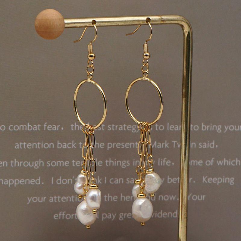 Fashion large circle earrings women pearl simple baroque natural freshwater pearl tassel handmade earrings jewelry nihaojewelry NHGW236430