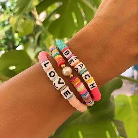 hot sale vacation beach style natural pearl color soft pottery letter bracelet couple wholesale nihaojewelry NHGW236432's discount tags