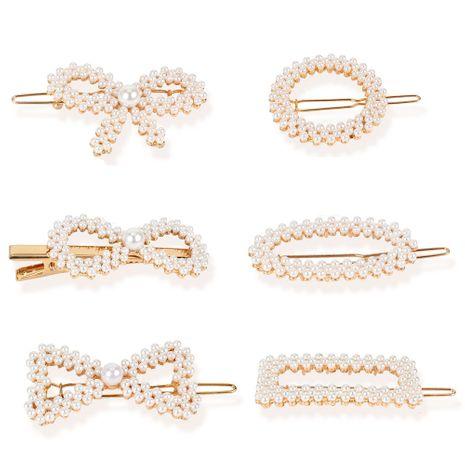 Accessoires pour cheveux en épingle à cheveux incrustés de perles arc rond en épingle à cheveux géométrique carré all-match en gros NHCT236443's discount tags