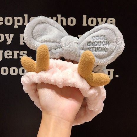 Korea Face Wash Hairband Small Antlers Bundle Hairband Pressed Sweet Cartoon Headband Hairpin wholesale nihaojewelry NHNA236447's discount tags