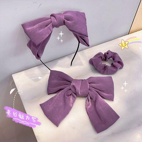 Fashion purple three-piece hairpin purple intestine hair ring hair band bow knot headband wholesale nihaojewelry NHNA236457's discount tags