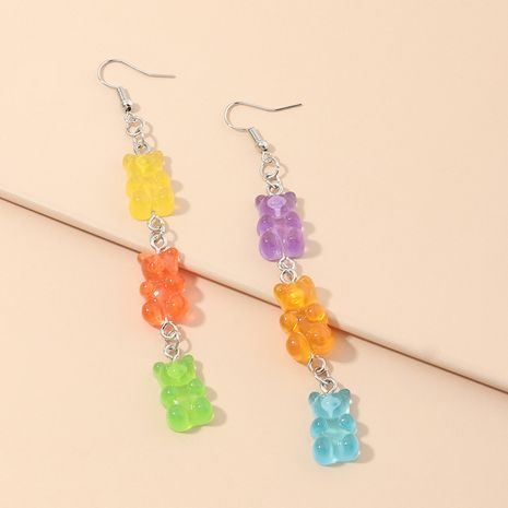 Fashion creative all-match ring candy color resin bear earrings fun long earrings wholesale hot sale nihaojewelry NHNZ236474's discount tags