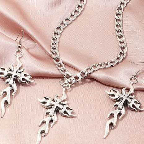 fashion jewelry retro flame pendant earrings punk style popular cross necklace wholesale nihaojewelry NHNZ236475's discount tags