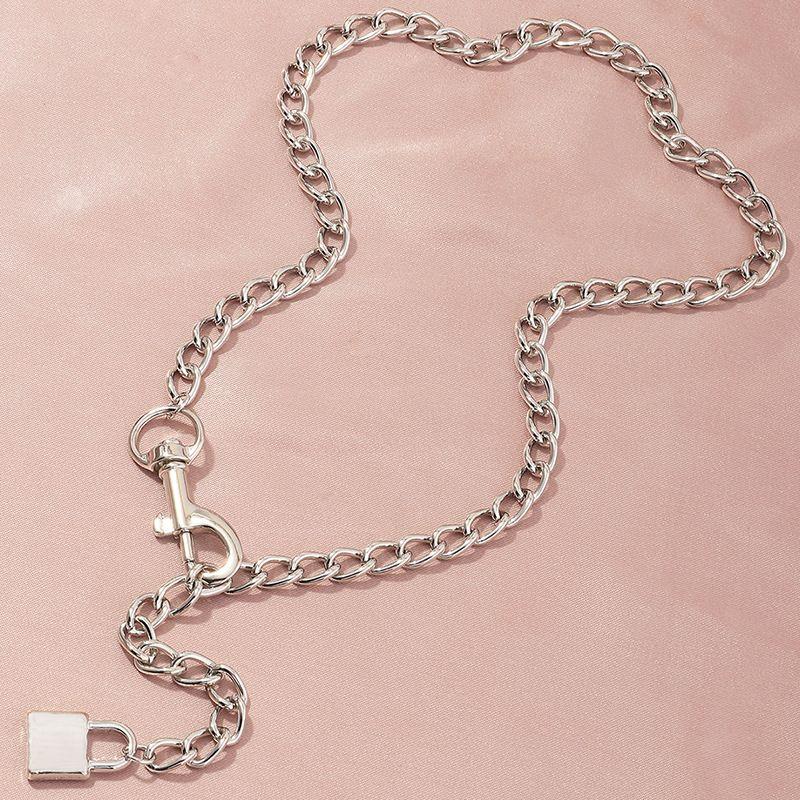 jewelry trendy geometric key chain necklace retro punk lock necklace wholesale nihaojewelry NHNZ236477